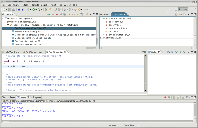 Early preview of SableVM debugging a Java program using JVMDI